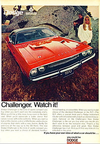 1970 - Dodge Challenger auto ad (Image1)