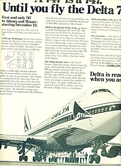 1970 - Delta Airlines 747 Ad
