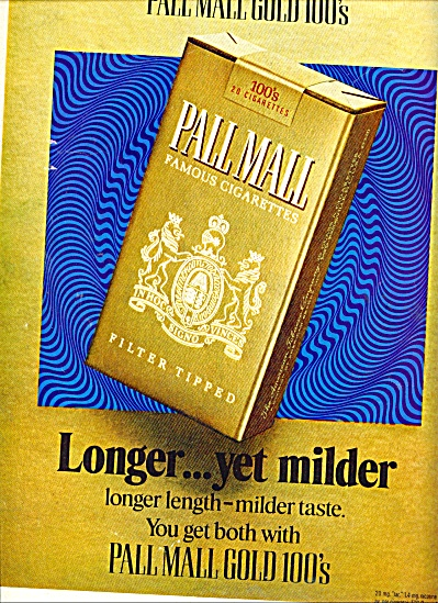 Pall Mall Gold 100s Cigarettes Ad 1971