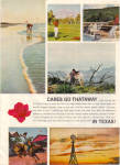 Click here to enlarge image and see more about item 012605E: 1964 TEXAS Travel AD - CARES GO THATAWAY