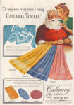 Click here to enlarge image and see more about item 020905K: 1942 CALLAWAY TOWEL AD Santa - Lady ART