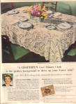 Click here to enlarge image and see more about item 101204V: 1949 Craftspun WILTSHIRE Lace Tablecloth AD