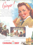 Click here to enlarge image and see more about item 120704XD: 1946 Canada Dry GO STEADY WITH GINGER AD