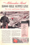 Click here to enlarge image and see more about item 121204AA: WWII Milwaukee Road Railroad UNCLE SAM WAR AD