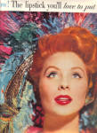 Click here to enlarge image and see more about item 121204AH: 1957 Du Barry Model Suzy Parker Lipstick 2pg AD