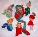 Click to view larger image of 6 Vintage Elves Pixie Christmas Elf Shelf Sitters (Image3)