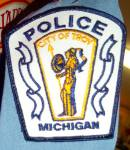 Click here to enlarge image and see more about item 130324TRY: OBSOLETE 70s POLICE Shirt TROY MICHIGAN w/ Patches