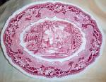Click to view larger image of MASONS VISTA PINK RED 13 1/2 inch x 10 5/8 inch platter (Image2)