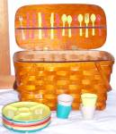 Click here to enlarge image and see more about item 130516PIC: VINTAGE WOVEN WOOD PICNIC BASKET With ORIGINAL 21 piece