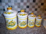 Click here to enlarge image and see more about item 130811A: 1970's Sears DAISY Yellow DAISIES 8 pc CANISTER SET