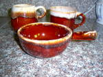 Click here to enlarge image and see more about item 130811BC: 3pc Vintage McCoy Brown Drip Mug  C Handle Cup - LUG S