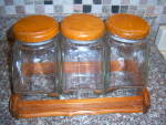 Click here to enlarge image and see more about item 130824APO: Candy Store Apothecary Glass Hexagon CANISTER SET w/ Ca