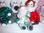 Click to view larger image of Collection ~ 5 PORCELAIN ~ CLOTH Face CLOWN CLOWNS ~  (Image2)