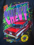 Click here to enlarge image and see more about item 140323CV: 1957 Chevrolet Chevy NEON T-Shirt TEE Black CLASSIC