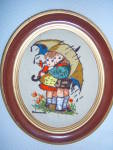 Click to view larger image of Vintage HUMMEL LOT NEEDLEPOINT CREWEL EMBROIDERED FRAME (Image3)