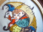 Click to view larger image of Vintage HUMMEL LOT NEEDLEPOINT CREWEL EMBROIDERED FRAME (Image7)