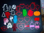 Click to view larger image of Huge LOT 29 Vintage COOKIE CUTTERS - Hallmark - Wilton  (Image1)