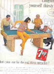 Click here to enlarge image and see more about item K010303B: 1963 Seven-Up Couples Playing Pool Ad