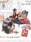 1963 Seven Up &UP Couples Snow Skiing Ad