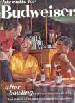 1963 Budweiser BOWLING Men In Bar Smoking Ad