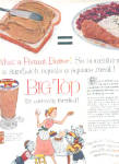 Click here to enlarge image and see more about item K021403G: 1957 Big Top Peanut Butter EA Glasses Ad