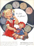 1958 Bell Telephone Cute Little GIRL DOLL AD