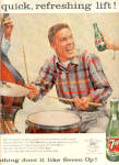1957 Seven-Up Boy Playing Drums Ad