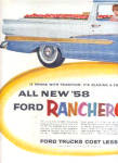 Click here to enlarge image and see more about item K022003C: 1958 Ford Ranchero Blazing Trail 2 Page Ad