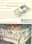 Click here to enlarge image and see more about item K022203L: 1949 Simtex Blue Willow Tablecloth Ad