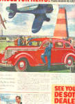 Click here to enlarge image and see more about item K030703Q: 1938 Desoto Car Nose For News Jets SHOW Ad