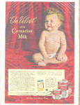 Click here to enlarge image and see more about item K031303E: 1947 Carnation Milk Almost Nude Baby Ad
