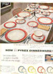 Click here to enlarge image and see more about item K032703H: 1953 Pyrex FLAMINGO LIME AQUA GRAY DISH Ad