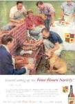 Click here to enlarge image and see more about item K032903A: 1958 Four Roses Men/Dog Barbeque Ad