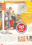 1953 USS Steel Man And Boy Painting AD
