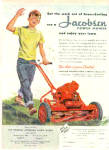 Click here to enlarge image and see more about item K060303C: 1950 Jacobsen Power Mower Cute Boy Ad