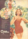 Click here to enlarge image and see more about item K070703G: 1958 Catalina SUZY PARKER Model Swimsuits Ad