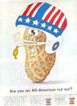 Click here to enlarge image and see more about item K092003B: 1966 Skippy Peanut Butter USA FOOTBALL  Ad