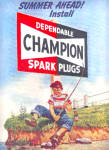 1951 Champion Spark Plugs Boy Fishing Ad