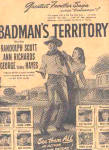 Click here to enlarge image and see more about item K111902Z: 1946 Badman Territory Randolph Scott Movie Ad