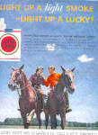 Click here to enlarge image and see more about item K112202Y: 1957 Lucky Strike Horse Riding Ad