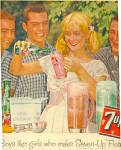 Click here to enlarge image and see more about item K326: 1960 Boys and Girl Seven Up 7UP Ad