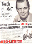 Click here to enlarge image and see more about item KAY122: 1953 Alan Ladd Auto-Lite Spark Plugs Ad