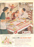 Click here to enlarge image and see more about item KD012703N: 1949 Simtex Pueblo MEXICALI  Tablecloth Ad