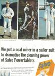 Salvo low suds tablets ad 1965 COAL MINER
