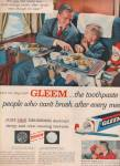 Gleem tooth paste ad 1957