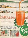 Click here to enlarge image and see more about item MH487: green spot orange drink ad  1954