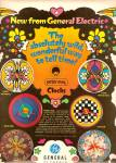 Click here to enlarge image and see more about item MH5854: General elecric  ad 1968 PETER MAX Clocks