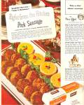 Click here to enlarge image and see more about item MH6699: Armour pork sausage ad 1947 MMMMM  GOOD