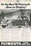 Click here to enlarge image and see more about item MH730: Plymouth automobile  for 1936 ad