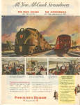 Click here to enlarge image and see more about item PR49: 1949 Pennsylvania Railroad Streamliner AD